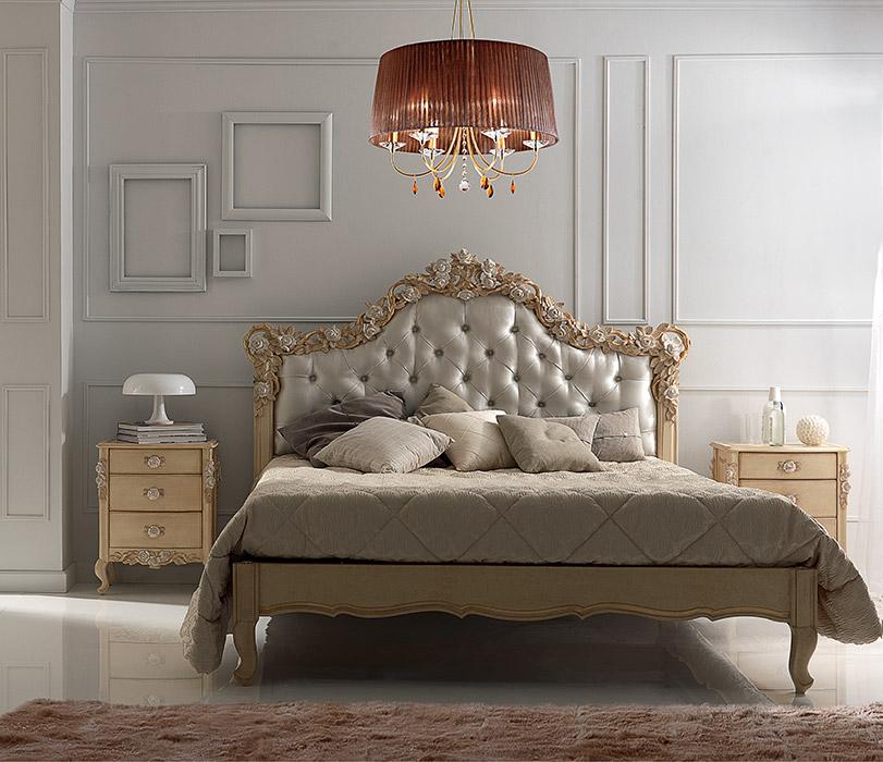 Art. 6022 Comodino 3 cassetti 3-drawer night table L 53 P 36 H 67 cm  Art. 6023 Letto matrimoniale Double bed L 195 P 210 H 155 cm
