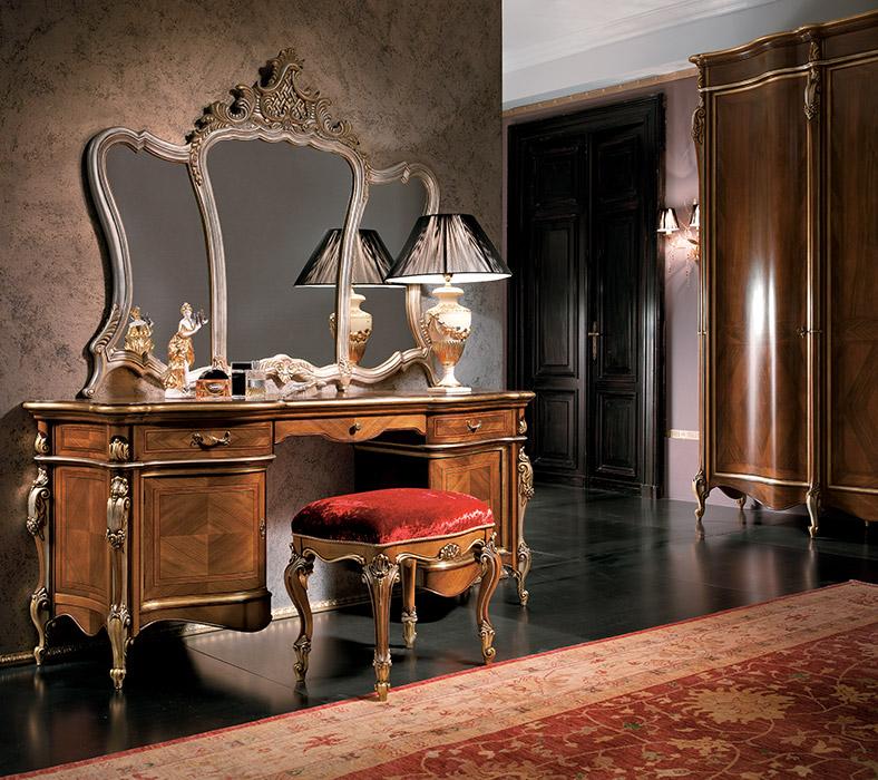 Specchiera Mirror L 142 P 7 H 118 cm  Art. 6067 Toilette 2 ante 3 cassetti 2-door 3-drawer dressing table L 178 P 53 H 78 cm  Art. 6064 Pouf Pouf L 54 P 42 H 43 cm