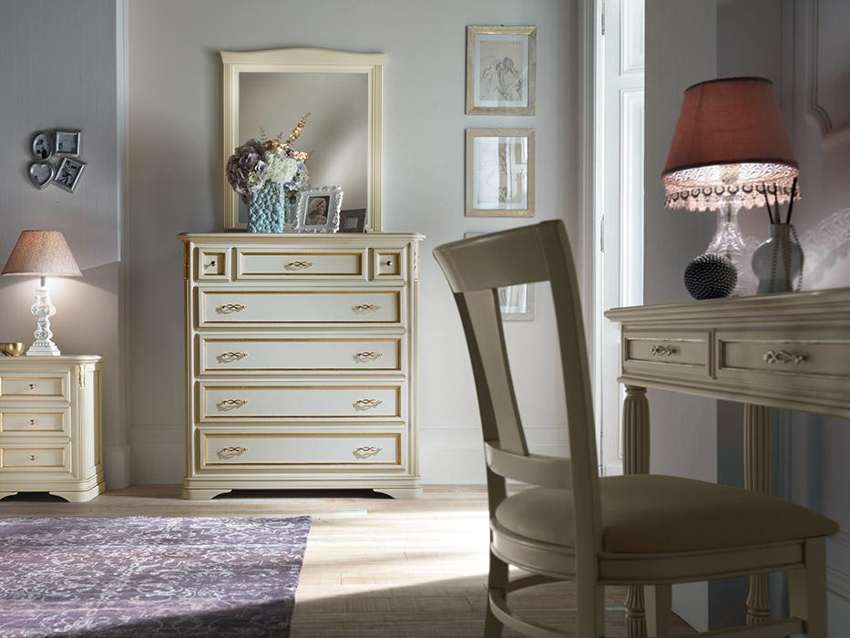 Art. 6231/B Comò 6 cassetti con ribalta 6-drawer chest of drawers L 120 P 51 H 130 cm  Art. 6233/A Specchiera Mirror L 88 H 98 cm