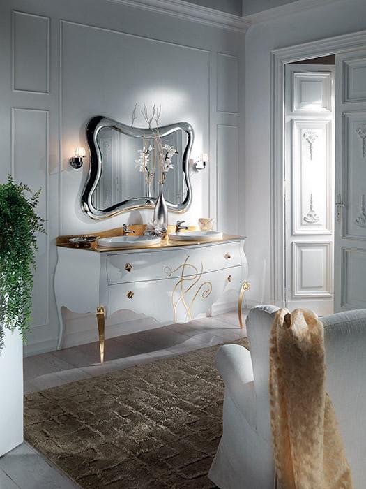 Art. 6321 Mobile lavabo 2 cassetti 2-drawer washbasin cabinet L 180 P 63 H 85 cm  Art. 6323/A Specchiera Mirror L 120 H 80 cm
