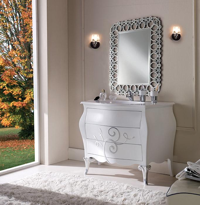 Art. 6331 Mobile lavabo 3 cassetti 3-drawer washbasin cabinet L 120 P 55 H 95 cm  Art. 6333/A Specchiera Mirror L 83 P 1,1 H 108 cm