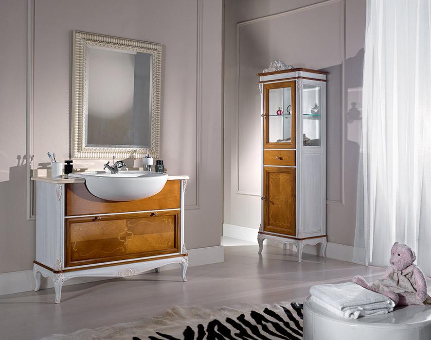Art. 6341 Mobile lavabo 1 cassetto 1-drawer washbasin cabinet L 111 P 61 H 85 cm  Art. 6340 Mobiletto 2 ante 1 cassetto 2-door 1-drawer bathroom cabinet L 61 P 41 H 180/190 cm