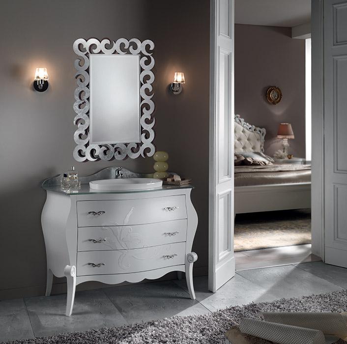 Art. 6353/A Specchiera Mirror L 80 P 1,3 H 109 cm  Art. 6351 Mobile lavabo 3 cassetti 3-drawer washbasin cabinet L 120 P 58 H 86 cm