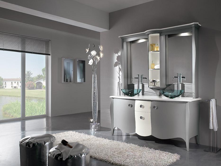 Art. 6361 Mobile bagno 2 ante 2 cassetti 2-door 2-drawer bathroom cabinet L 170 P 60 H 82 cm  Art. 6363/A Specchiera Mirror L 170 P 31 H 125 cm